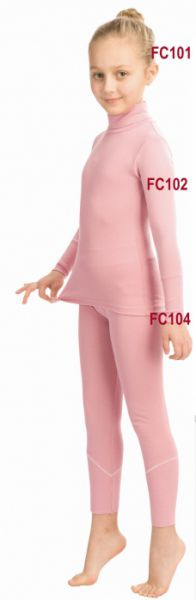 Футболка для девочек с длинными рукавами и высоким воротником розовая Clima Control Junior FC102
